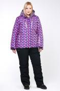 Оптом Костюм горнолыжный женский большого размера фиолетового цвета 018112F в  Красноярске, фото 11