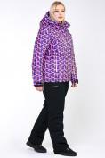 Оптом Костюм горнолыжный женский большого размера фиолетового цвета 018112F в  Красноярске, фото 12