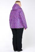 Оптом Костюм горнолыжный женский большого размера фиолетового цвета 018112F в  Красноярске, фото 14